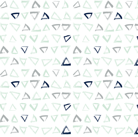 Pencil sketch geometry - grey and mint - triangles 01 fabric by aliceelettrica on Spoonflower - custom fabric
