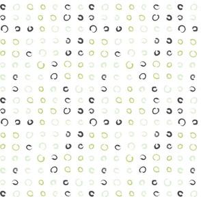 Pencil sketch geometry - green grass - polka dots 01