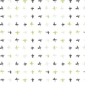 Pencil sketch geometry - green grass - crosses 01