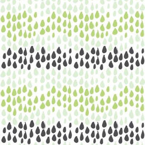 Pencil sketch geometry - green grass - raindrops 01