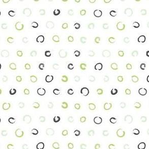 Pencil sketch geometry - green grass - polka dots 02