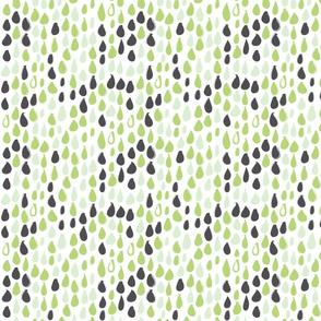 Pencil sketch geometry - green grass - raindrops 02