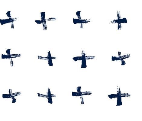 Pencil sketch geometry - midnight blue - crosses 01 - big fabric by aliceelettrica on Spoonflower - custom fabric