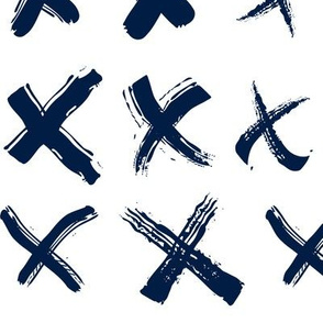 Pencil sketch geometry - midnight blue - crosses 01 - big