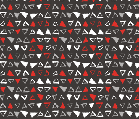 Pencil sketch geometry - red and black - triangles fabric by aliceelettrica on Spoonflower - custom fabric