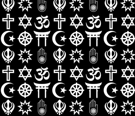 World Religions On Black Giftwrap Thinlinetextiles Spoonflower