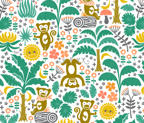 Forest Monkey Friends fabric by studio_amelie on Spoonflower - custom fabric