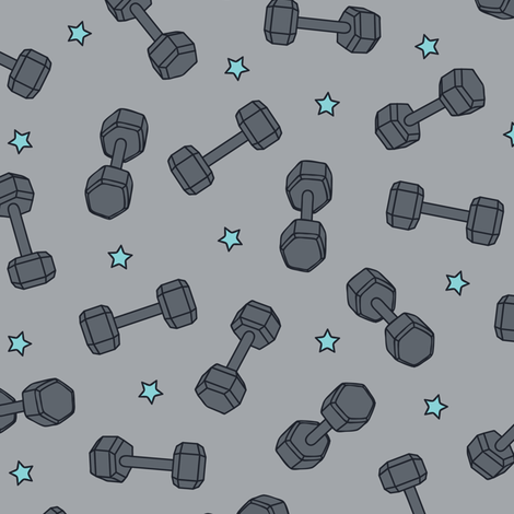 I ♥ STRENGTH (Blue Stars) fabric by sarahcatherinedesignsinc on Spoonflower - custom fabric