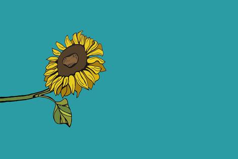 Sunflower Tea Towel fabric by kelly_korver on Spoonflower - custom fabric