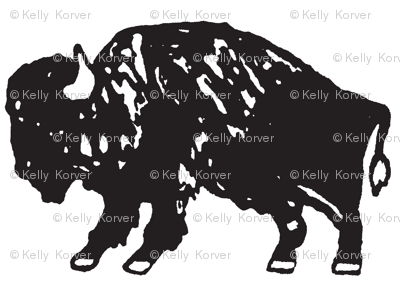 Bison Print - Black and White