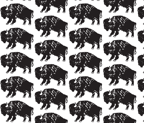 Bison Print - Black and White  fabric by kelly_korver on Spoonflower - custom fabric