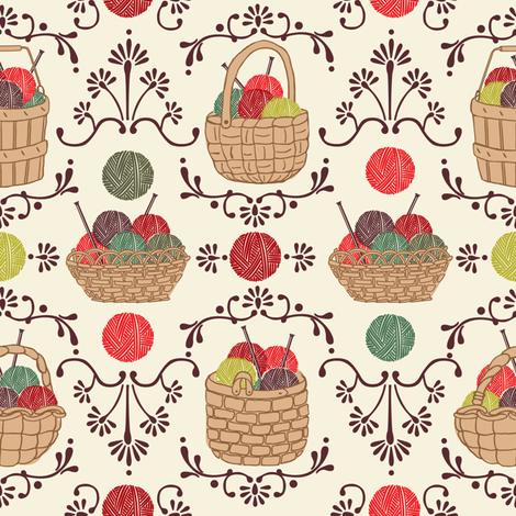 My Knitting Basket fabric by laura_mooney on Spoonflower - custom fabric