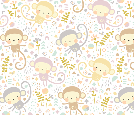 Little monkeys // by petite_circus // pastel peach gray purple cream // cute kids baby nursery //  fabric by petite_circus on Spoonflower - custom fabric