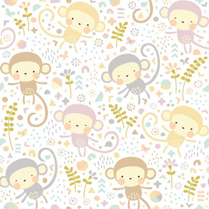 Little monkeys // by petite_circus // pastel peach gray purple cream // cute kids baby nursery //