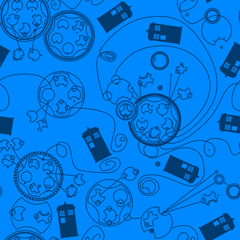 Police Boxes (4) fabric by naehrdine on Spoonflower - custom fabric