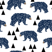 geo bear // camping blue navy kids room triangles mountains boy nursery