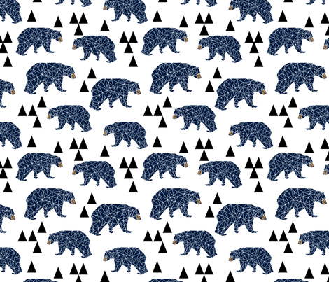 geo bear // camping blue navy kids room triangles mountains boy nursery fabric by andrea_lauren on Spoonflower - custom fabric