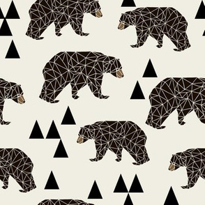 geo bear // cream geometric trendy camping boys nursery bear