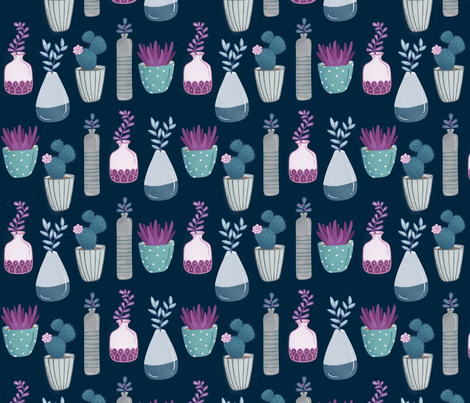 Succulents - navy fabric by jaymehennel on Spoonflower - custom fabric