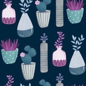 Succulents - navy