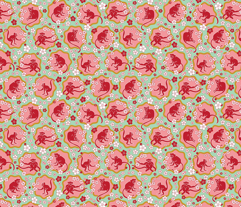 Cherry-Blossom-Monkeys fabric by lisa_travis on Spoonflower - custom fabric