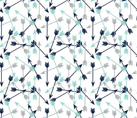 arrows // navy mint grey boy nursery kids  fabric by andrea_lauren on Spoonflower - custom fabric