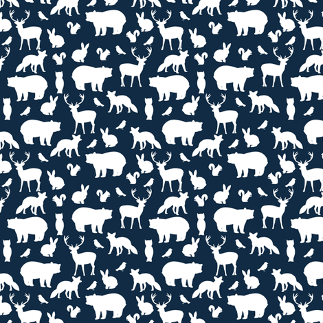 Mini Woodland party at midnight fabric by mintpeony on Spoonflower - custom fabric