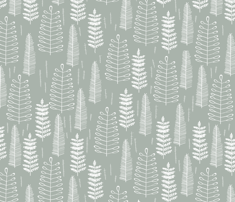 Ferns-dustyblue fabric by papercanoefabricshop on Spoonflower - custom fabric