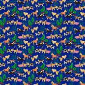 farm animals | dark blue | 6 x 6 inch