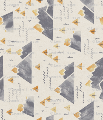 Gold-Tipped Watercolor Mountains - Rotated 90
