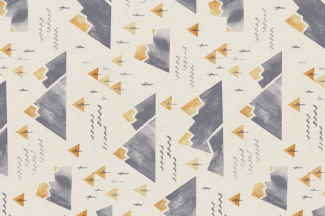 Gold-Tipped Watercolor Mountains - Rotated 90 fabric by papercanoefabricshop on Spoonflower - custom fabric