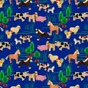 farm animals | dark blue | 12 x 12 inch