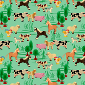 farm animals | green | 12 x 12 inch