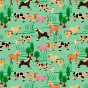 farm animals | green | 12 x 12 inch