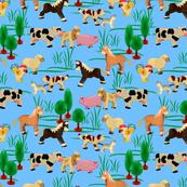 farm animals | light blue | 12 x 12 inch