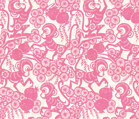 Year of the Monkey fabric by meliszawang on Spoonflower - custom fabric