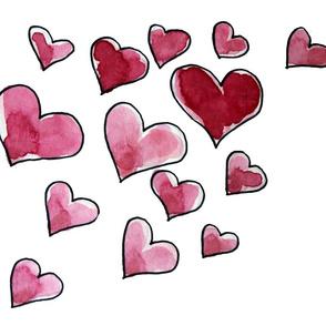 Watercolor love hearts