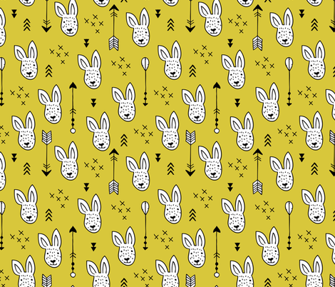 Cool white bunny and geometric arrows spring easter design in gender neutral mustard yellow fabric by littlesmilemakers on Spoonflower - custom fabric