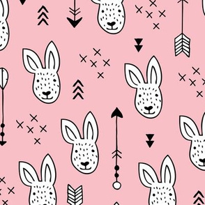 Cool white bunny and geometric arrows spring easter design in soft pastel pink