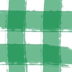 Watercolor Check in Green