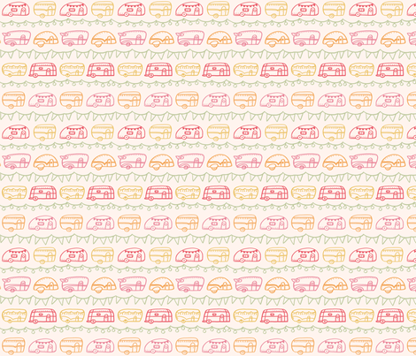 Retro Campers - Tropical fabric by ellolovey on Spoonflower - custom fabric