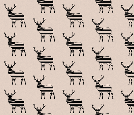 """Rustic American Deer (4"""") fabric by thinlinetextiles on Spoonflower - custom fabric"""