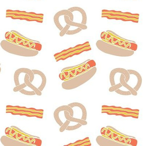 pretzel // junk food hot dog bacon food novelty fried food fast food