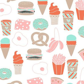 food // cheese french fries pretzel coffee ice cream donut  pastel mint and pink food print
