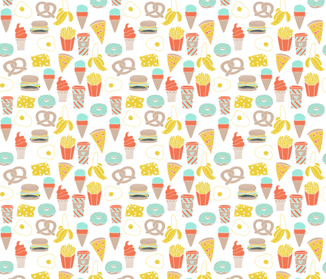 fast food // junk food cheese burger fries donut cafe coffee latte ice cream fast food  fabric by andrea_lauren on Spoonflower - custom fabric