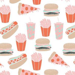 junk food // pink junk food hot dog french fries hamburger cheeseburger fast food junk food kids food