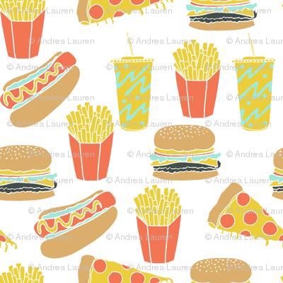 junk food // hot dog pizza fries soda fried food fast food novelty food print