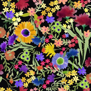 Painterly Floral Pattern on Black