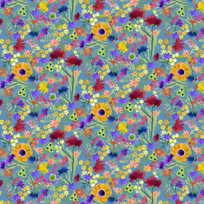Painterly Floral Pattern on Blue