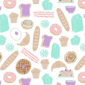 brunch // breakfast food pastel kids mint pink purple sweet pancackes muffins donuts toast